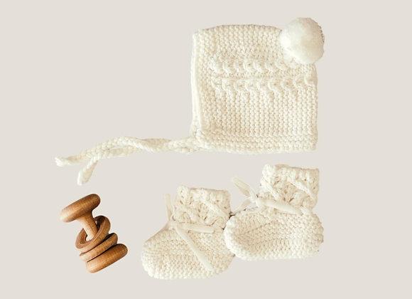 Ivory Merino Wool Bonnet & Booties Set