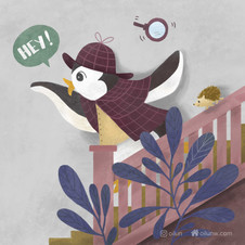 The detective penguin and his assistant