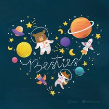 Besties traveling in space