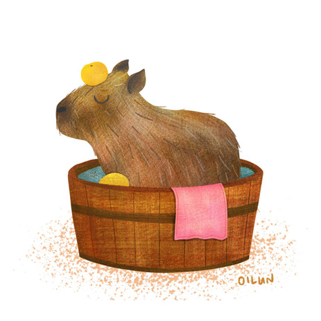 Capybara enjoying the spa