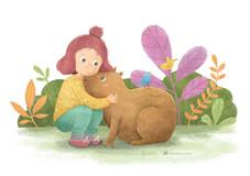 Meet Mia and her unusual pet, Miso, a capybara!