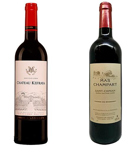 Pour le vin,  un Château Kefraya Rouge, sinon un Saint-Chinian Causse du Bousquet du Mas Champart