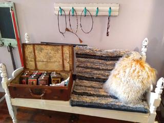 A handwoven rug enhances the display at LL Bevington's store in Pendleton, Oregon.