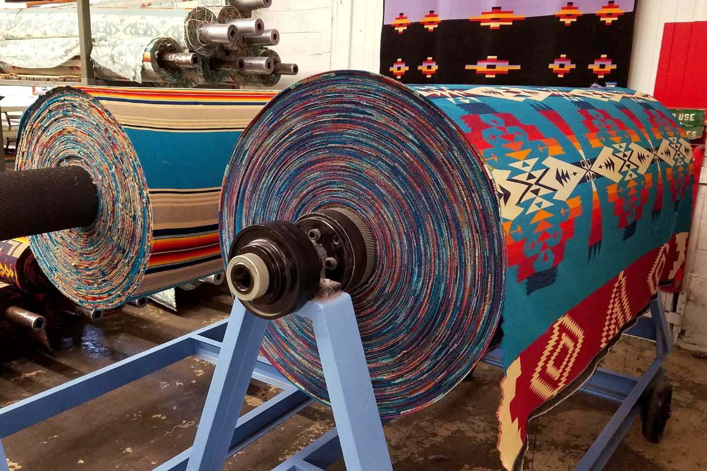 Rolls of woven Pendleton wool blankets at the mill in Pendleton, Oregon.