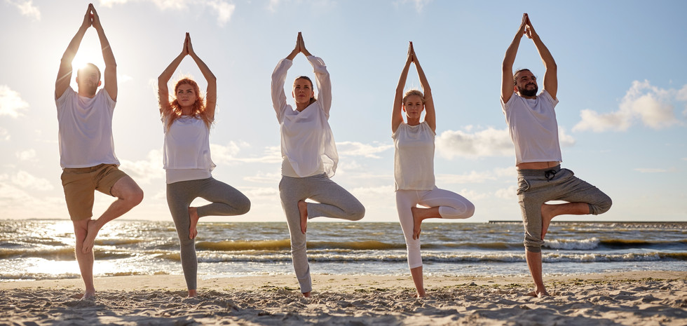 group-of-people-making-yoga-in-tree-pose
