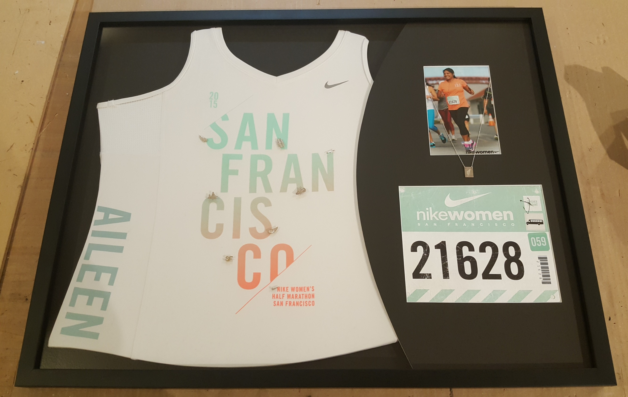 Marathon Jersey, Pins, Necklace and Number Tag