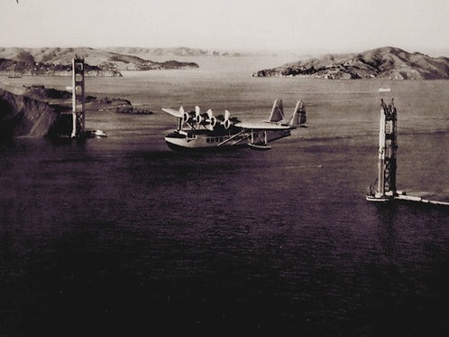 Pan Am Clipper Flying over Golden Gate Bridge 1935