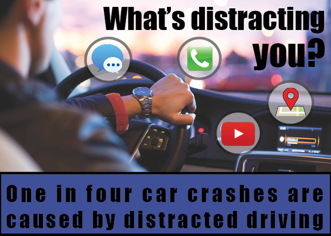 According to Utah Zero Fatalities, 1 in 4 crashes are caused by distracted driving.