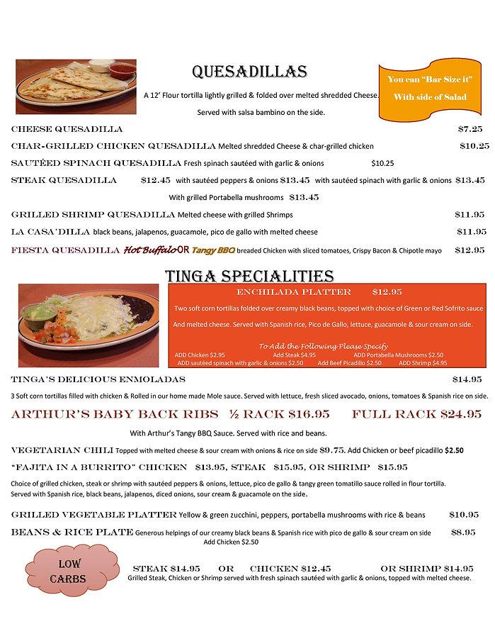 Quesadillas & tinga spcialties May 2020-