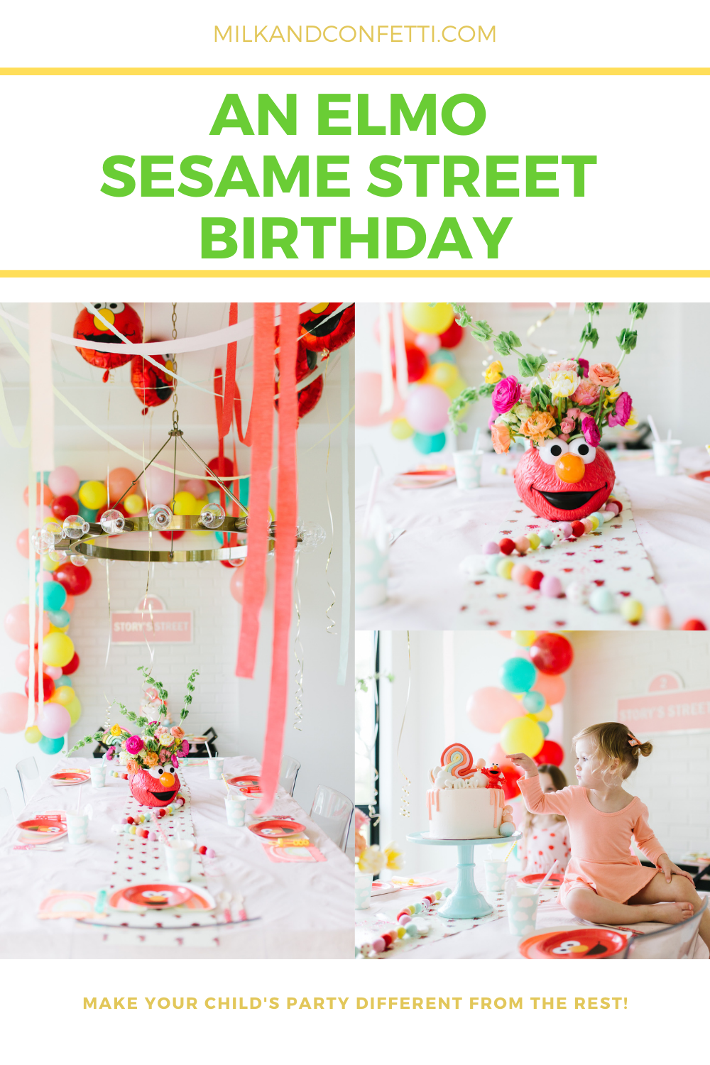 A Sesame Street Elmo Second birthday party with fun decor balloons, streamers cake and flowers!
