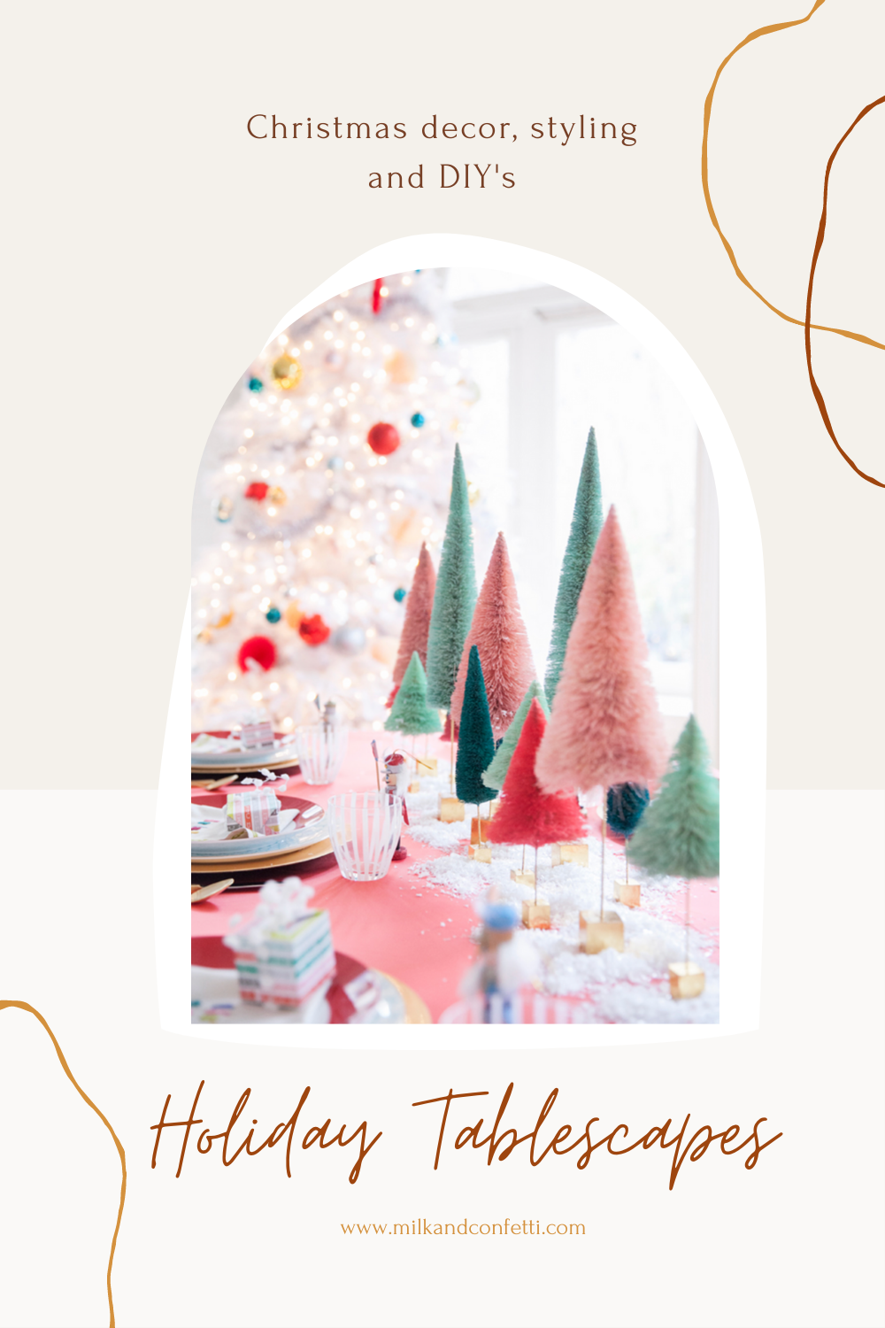 A whimsical Christmas tablescape set up with a red tablecloth, colourful bottlebrush trees and festive dinner wear on a dining room table during the holidays.