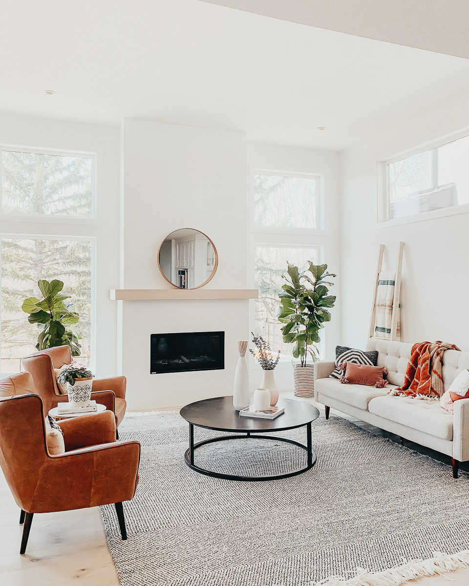 A bright living room with white walls and a large area rug with mid century furniture in front of a modern linear fireplace.