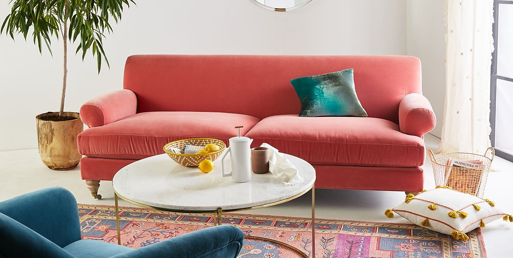 Anthropologie Coral Willoughby Two Cushion Sofa