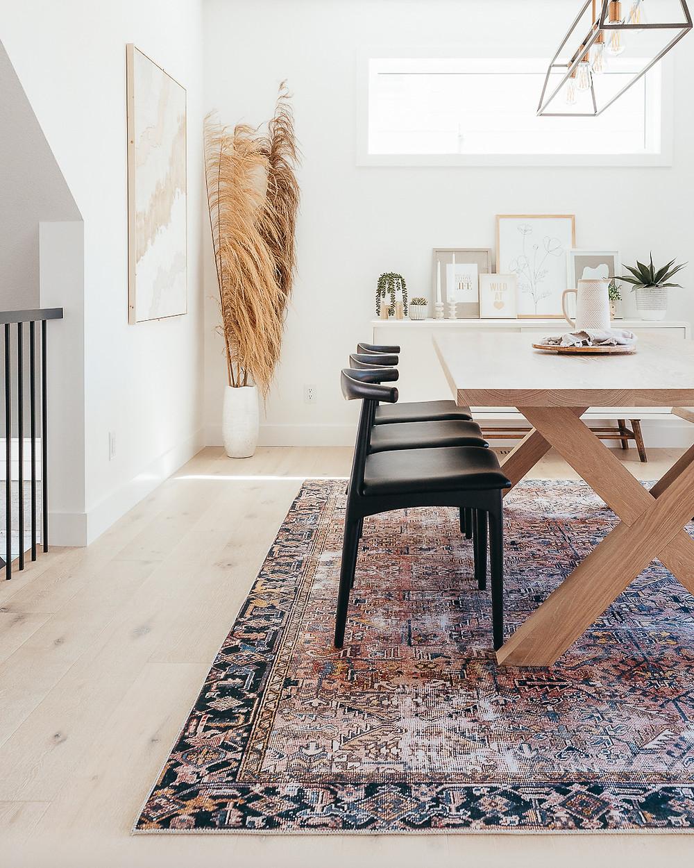 White oak hardwood floors midcentury Scandinavian style home design modern minimal boho style