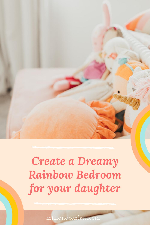 A boho rainbow little girls bedroom with some handmade dolls sitting on a velvet bench.