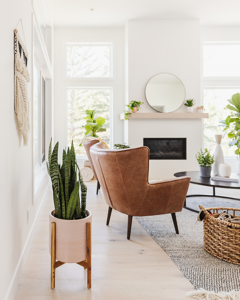Snake plant in pot on floor with wood stand white and black macramé wall hanging brown leather arm chairs fireplace with wood mantle round mirror with plants fiddle leaf fig basket on floor