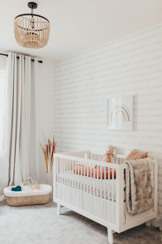 A bohemian inspired baby nursery.