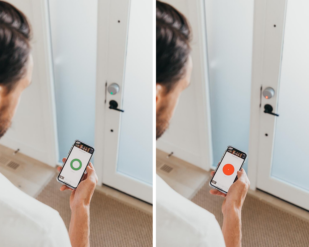 A man using the August Wifi Smart Lock 4th generation from Best Buy Canada.
