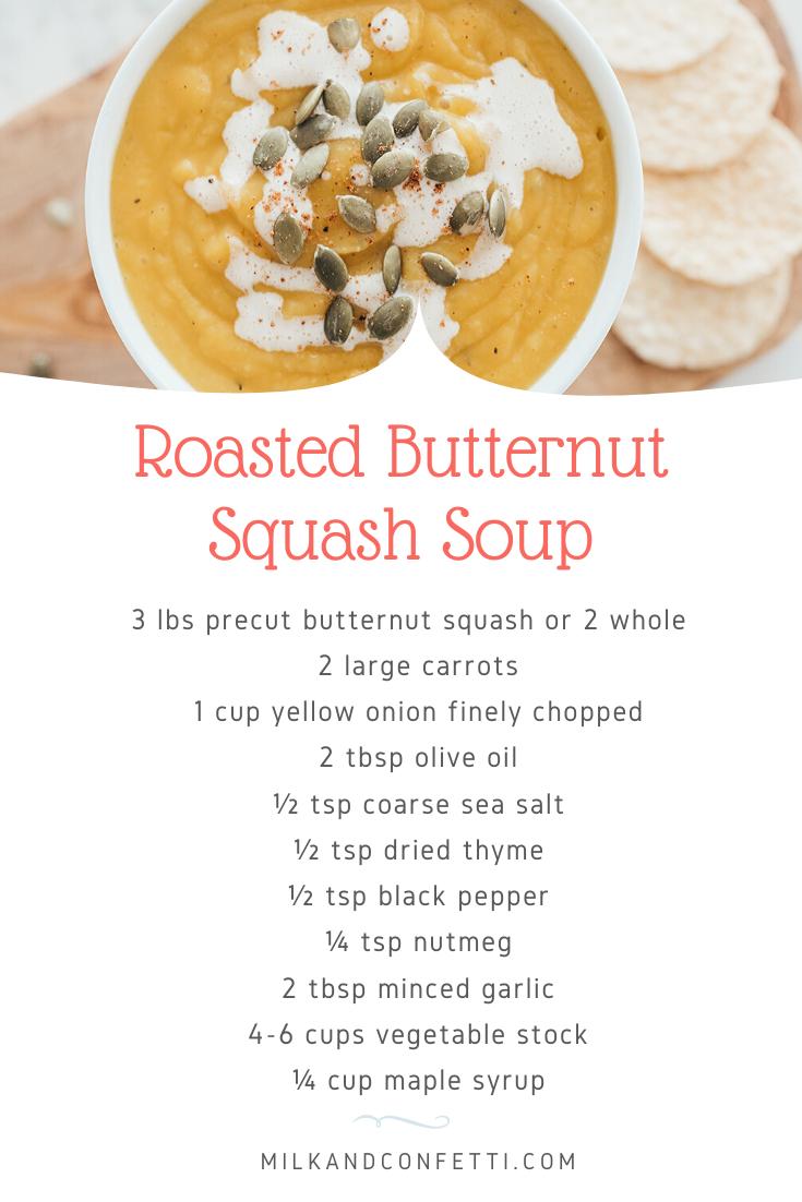 A  butternut squash soup recipe card.