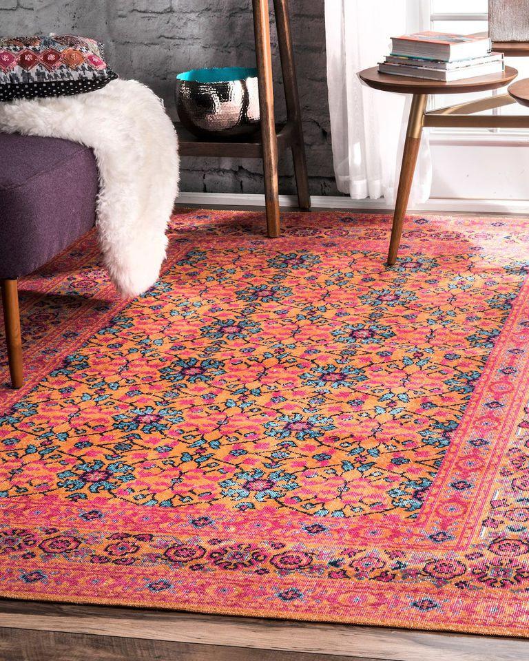 Coral moroccan area rug