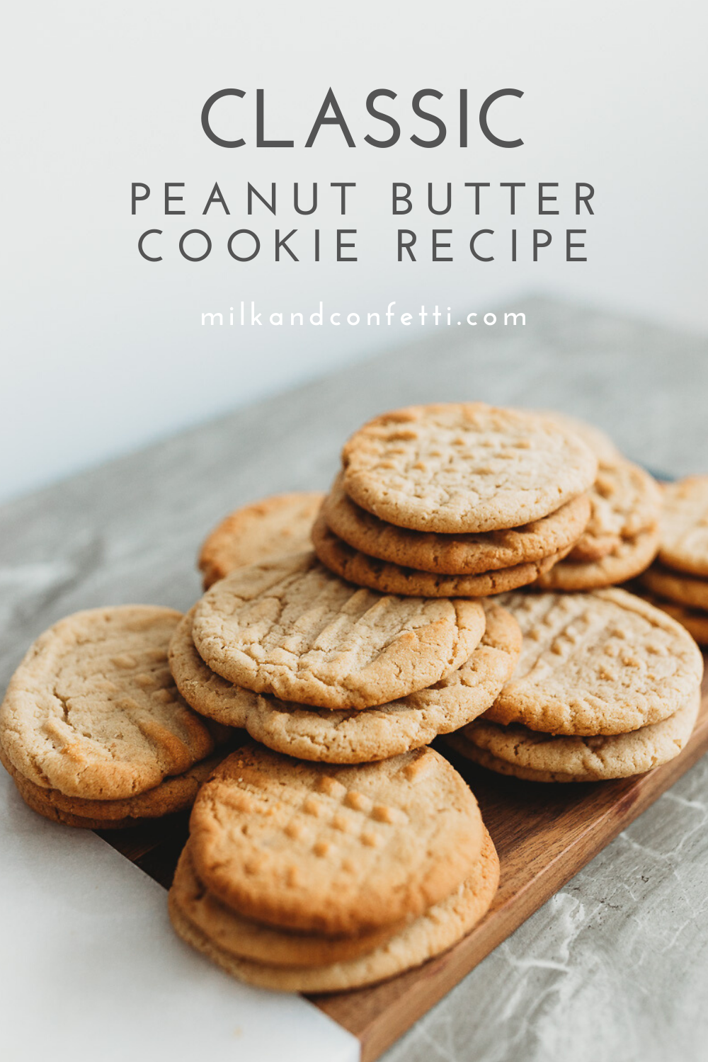 A platter of perfectly baked peanut butter cookies.