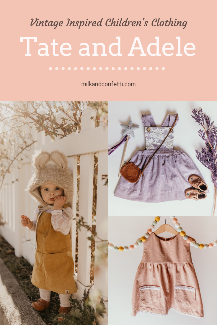 Little girl linen dresses with lace details.