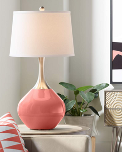 Coral and gold spencer table lamp