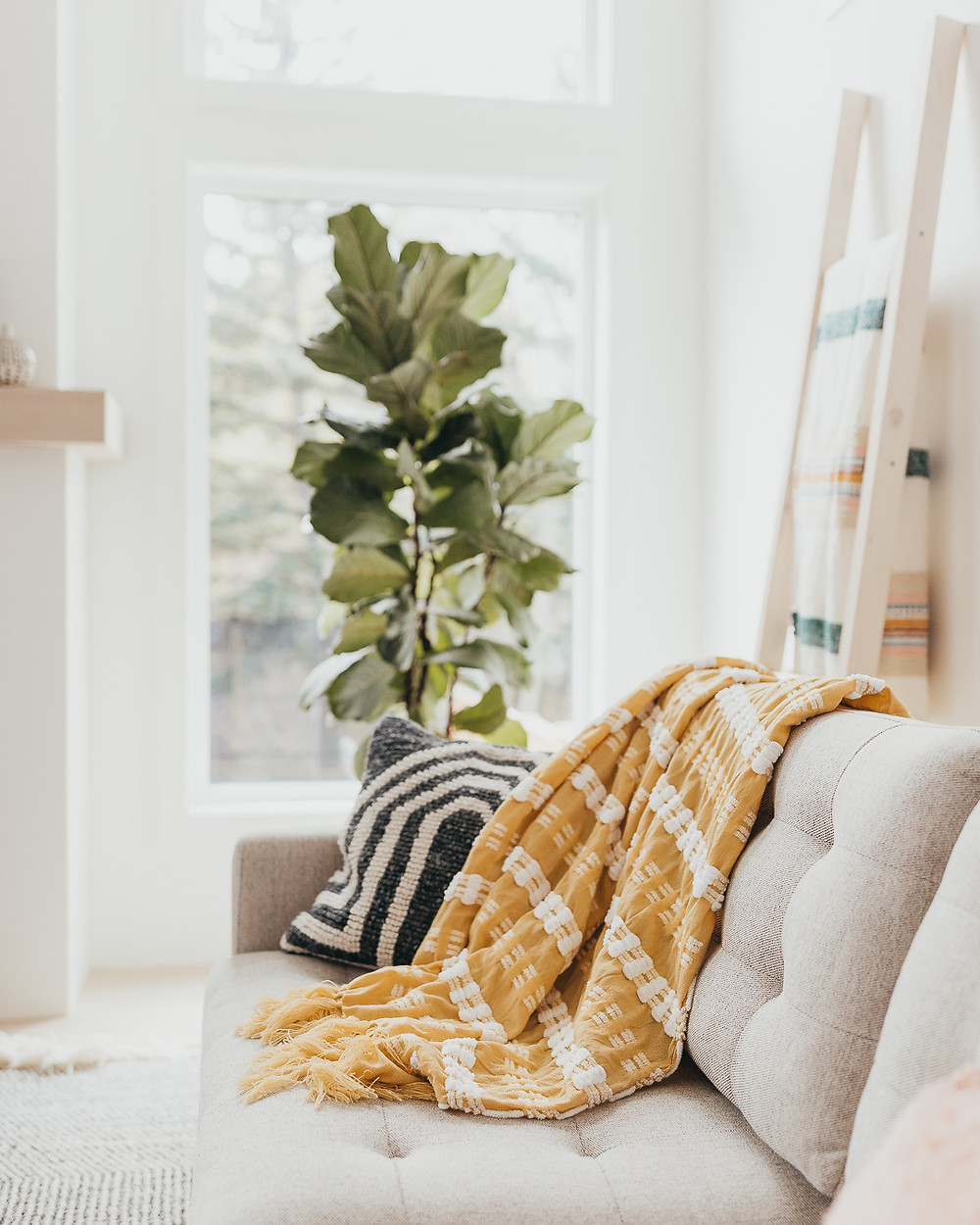 A white Scandinavian living room features white oak wood floors with a natural fibre striped wool rug, a fiddle leaf fig in front of a big window beside a blanket ladder, behind a light coloured sofa with a yellow throw and grey pillow.