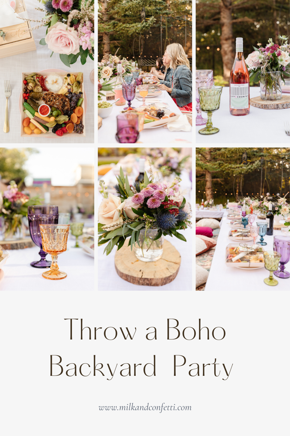 An evening backyard boho garden party with gorgeous flowers, velvet throw pillows, vintage rugs, charcuterie wine, twinkle lights, coloured glasses, personalized gift boxes, boho decor and all your best girlfriends.