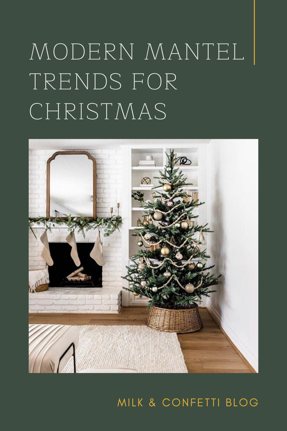 A white Christmas holiday fireplace with a mantel decorated with greenery, candles, a mirror and stockings for a cozy and modern look.