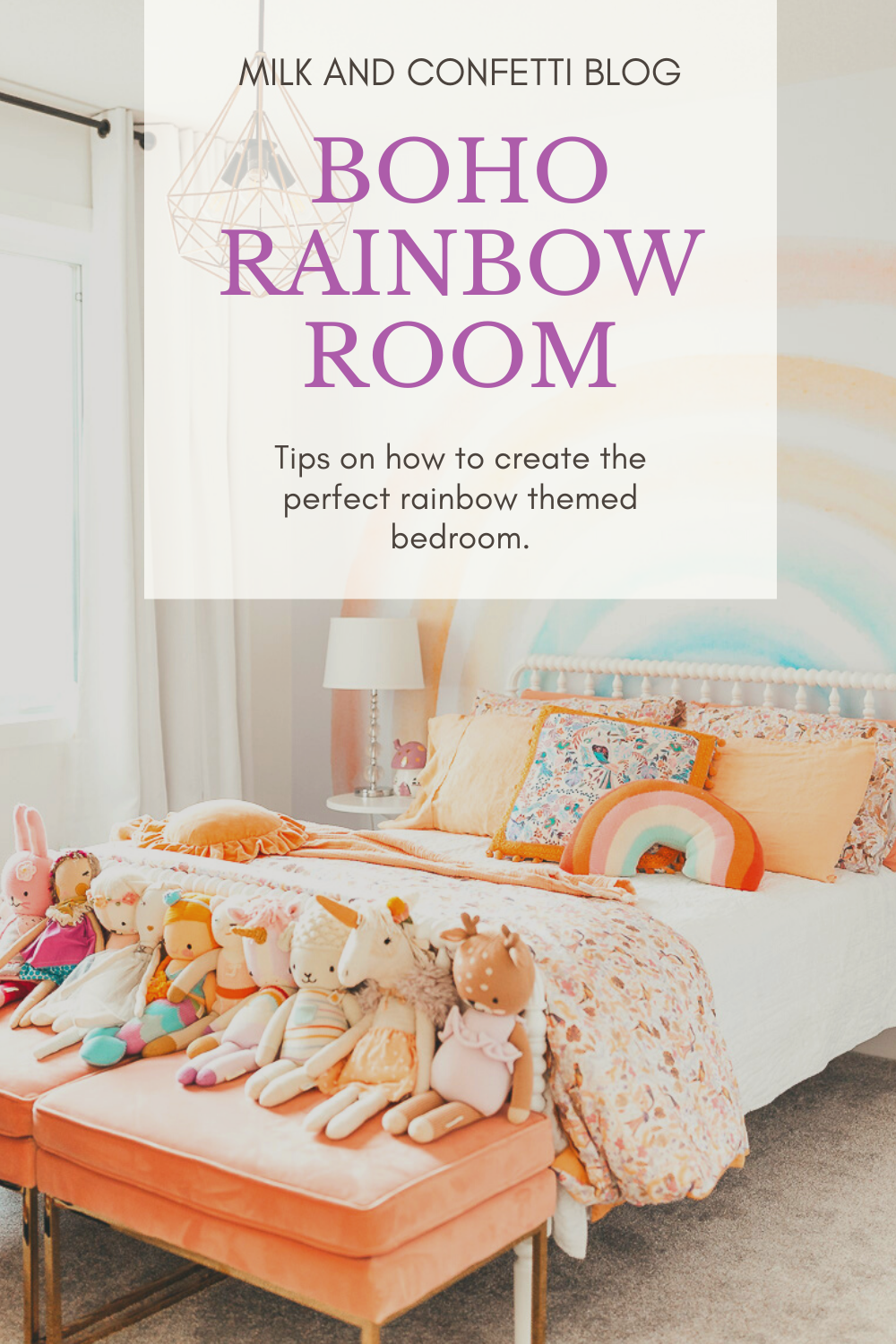 A boho rainbow bedroom with a white Jenny Lind bed and some handmade dolls sitting on a coral velvet bench.