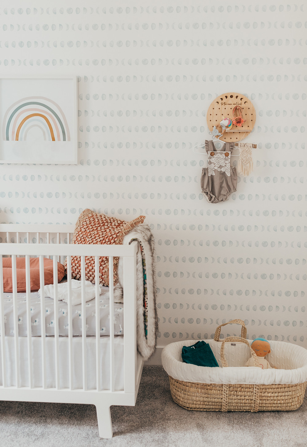 A beautiful bohemian baby nursery.