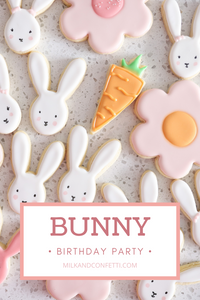 Beautifully decorated easter sugar cookies in the shape of bunnies, flowers and carrots.