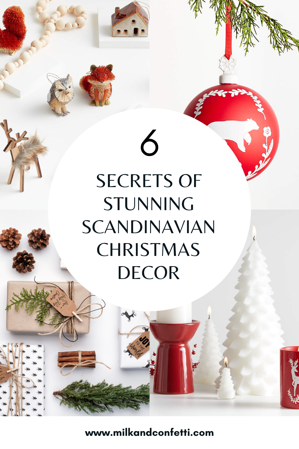 A wooden beaded garland laying amongst red and white Scandinavian inspired Christmas ornaments and decor in the shape of forest animals like squirrels, foxes, deer and rabbits for a minimal and modern holiday decor look.