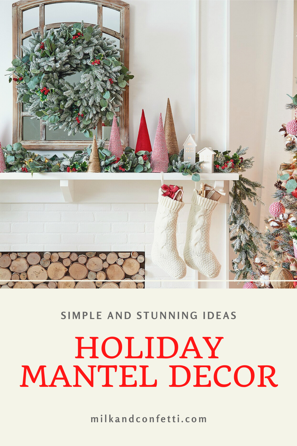 A white Christmas holiday fireplace with a mantel decorated with greenery, a mirror, bottle brush trees and stockings for a stylish and modern look.