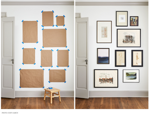 Some craft paper taped to a wall mapping out where photo frames will hang.