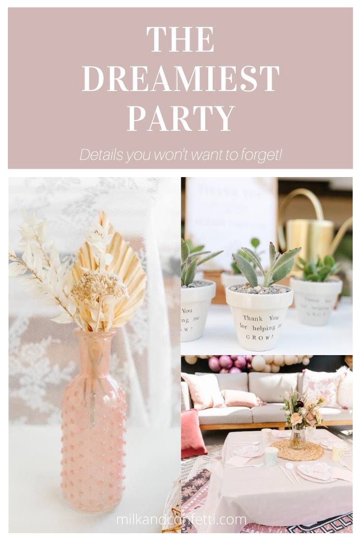 A boho first birthday party with pampas grasses, roses and succulents.