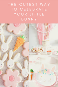 A beautifully planned bunny birthday filled with sugar cookies, a pink backdrop and a bunny craft.
