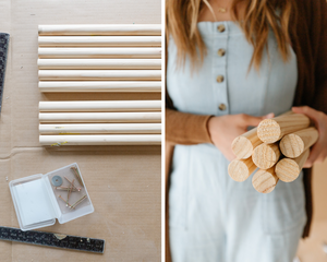 A girl holding some wooden dowels.