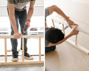 A man drilling screws into a blanket ladder.
