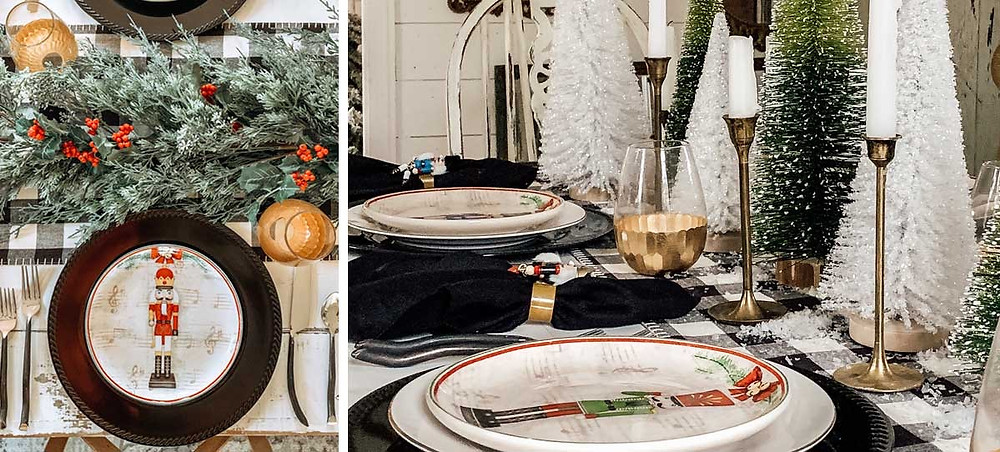 A classic Christmas tablescape set up with bottlebrush trees and gold candle holders with white candle sticks next to some fresh greenery and nutcrackers napkins at a holiday dinner.