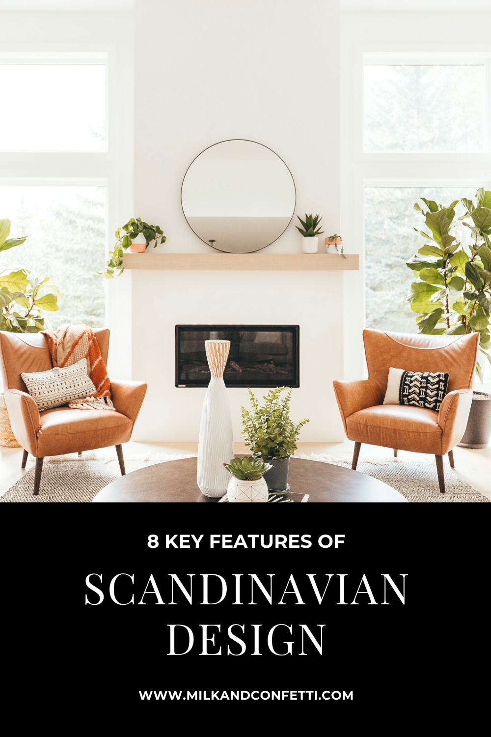 A Scandinavian inspired living room with a round metal coffee table and two brown leather chairs on a black and white wool rug in front of a white linear fireplace with a minimal white oak mantel.