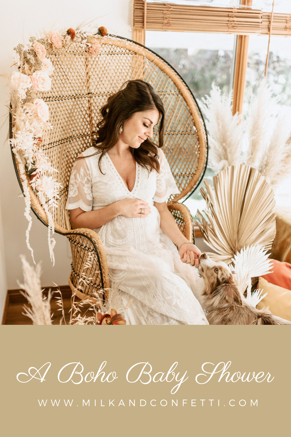 All the dreamy details you need to host a boho baby shower with pampas grasses, velvet pillows, wicker rattan chairs and elegant florals.