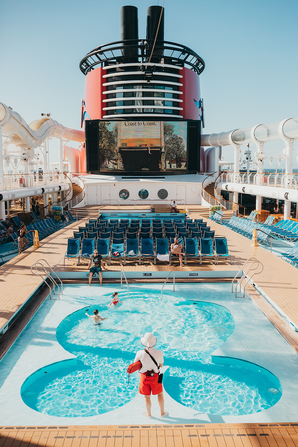 A photo of the pool deck on a Disney Cruise.