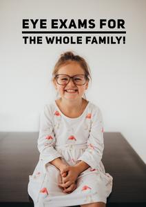 Little girl wearing big glasses smiling