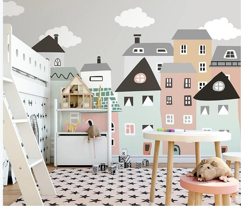 A small city mural in childrens playroom with white loft bed and peg leg craft table