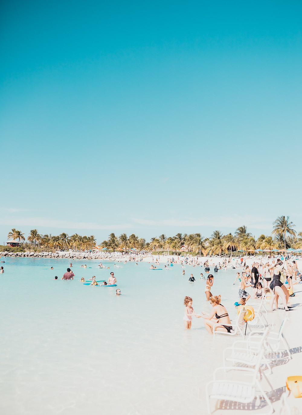 A wide angle shot of the beach at Castaway Cay Island in the Bahamas