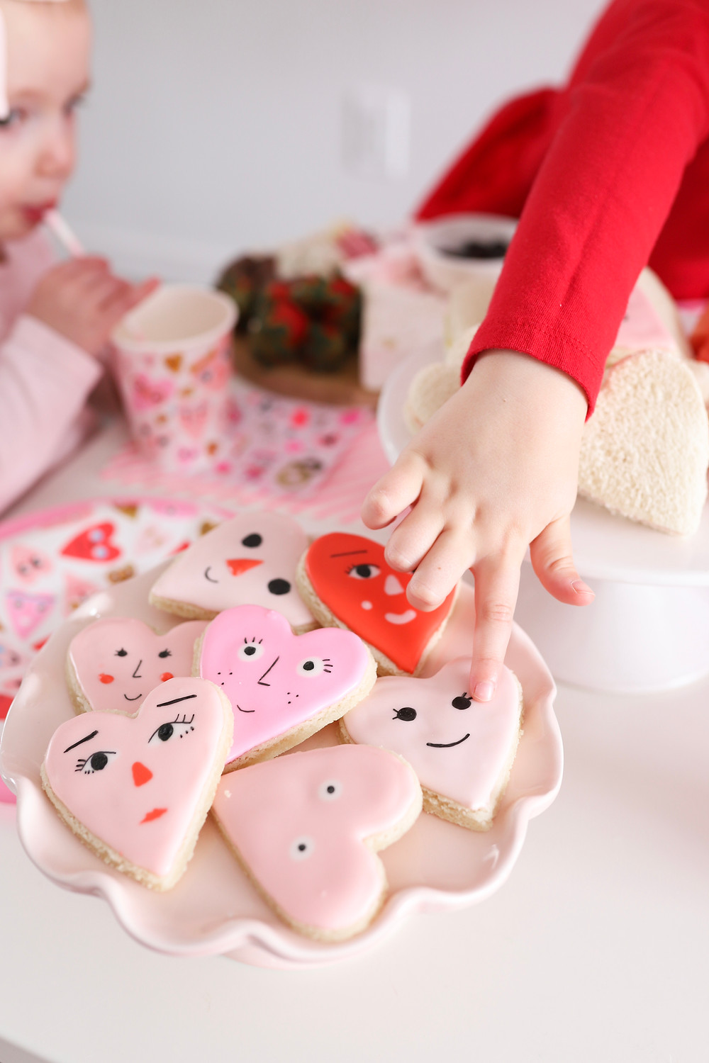 A plate of Valentine's Day cookies.