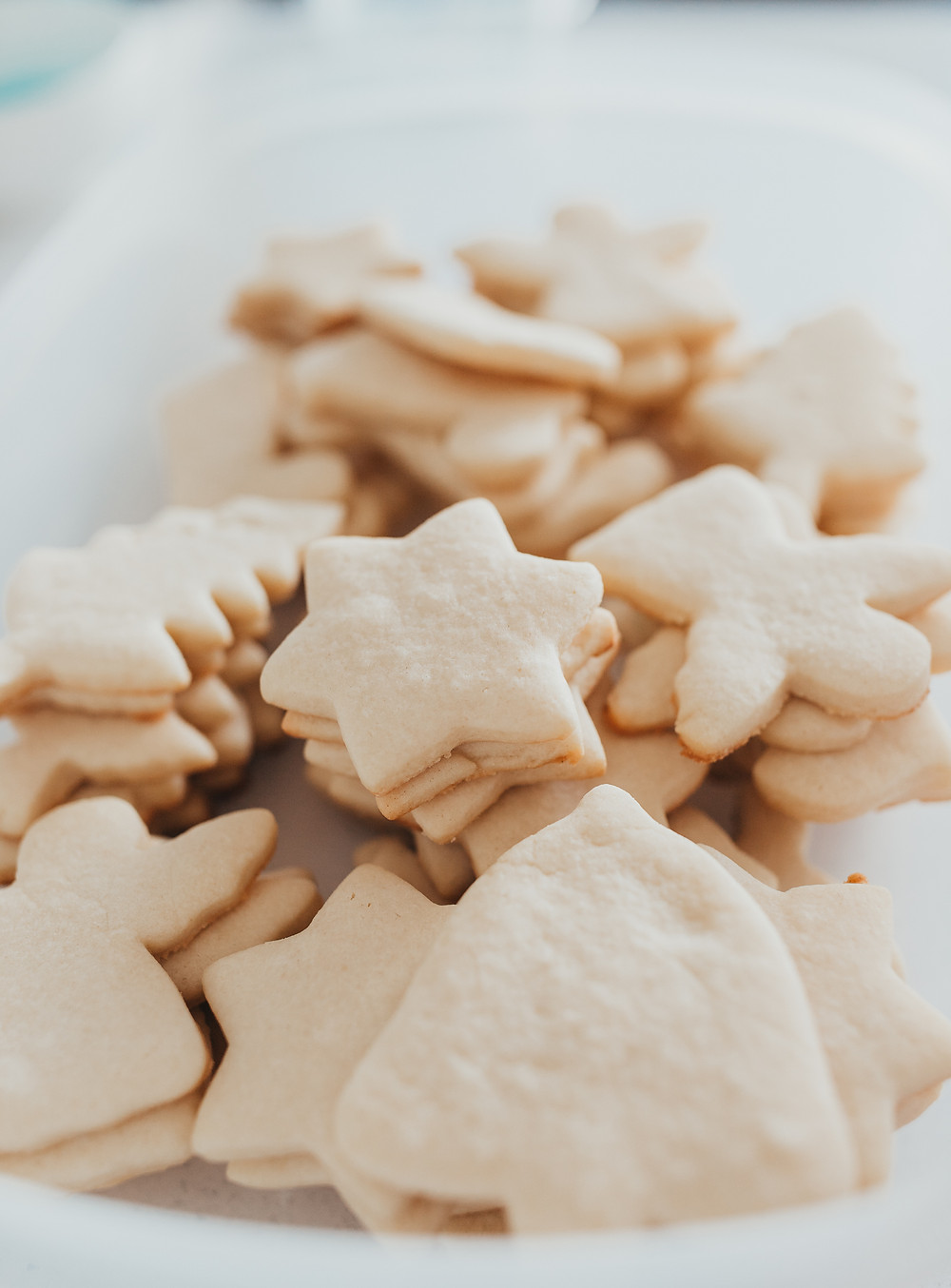 A pile of fresh baked sugar cookies.
