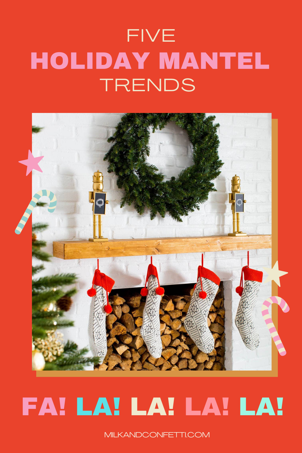 A white Christmas holiday fireplace with a mantel decorated with a green wreath, nutcrackers and stockings for a stylish and cozy feel.